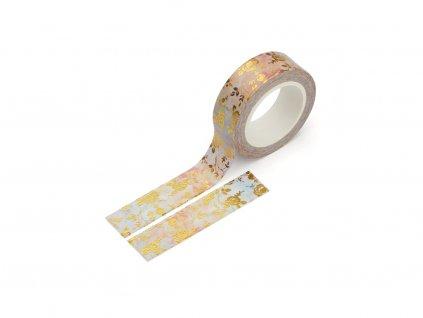 Washi páska - Růže v akvarelu (zlatá fólie)