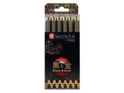 sakura pigma micron black gold sada 6ks 1