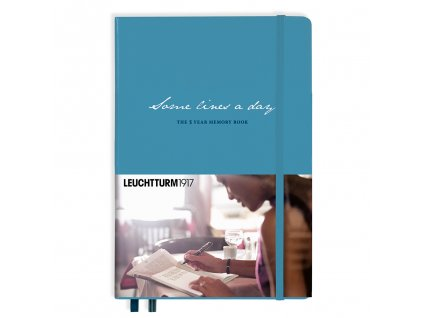 some lines a day leuchtturm1917 5 year memory book medium a5 nordic blue