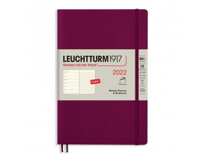 tydenni diar 2022 zapisnik leuchtturm1917 b6 softcover port red