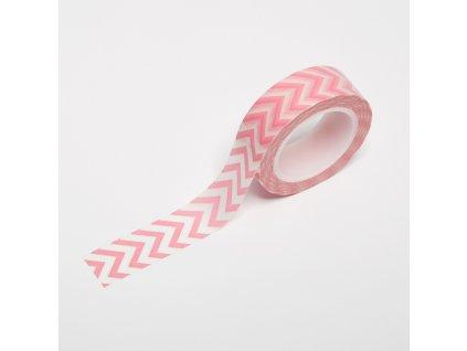 Washi páska - Světle růžový chevron