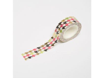 Washi páska - Barevné stopy (zlatá fólie)