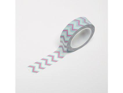 Washi páska - Růžovo-mint chevron
