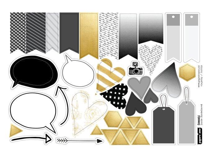 PAPERO AMO - papírové výseky - ČERNOBÍLÁ / vlaječky