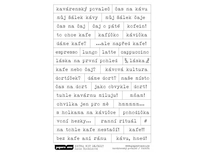 PAPERO AMO - samolepky - EXTRA KIT / Červen 2017 KAVÁRENSKÝ POVALEČ