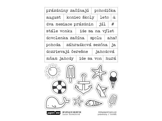 PAPERO AMO - samolepky - MY LIFE KIT Júl / August 2017 PRÁZDNINY