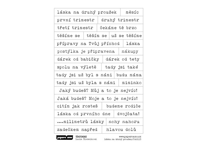 PAPERO AMO - samolepky - TĚHOTENSKÁ / láska na druhý proužek