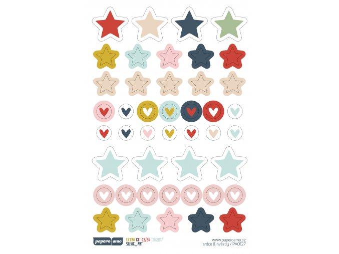 Samolepky - MŮJ PODZIM / Srdce a hvězdy