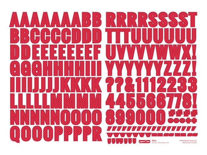 PAPERO AMO - samolepící abeceda - ŠKOLA / červená