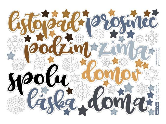 Papírové výseky - TEPLO DOMOVA / Nápisy