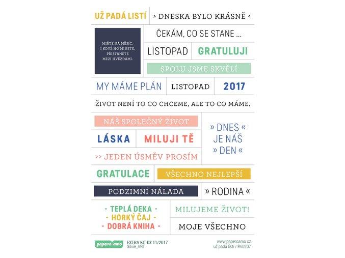 PAPERO AMO - samolepky - EXTRA KIT listopad 2017 / UŽ PADÁ LISTÍ