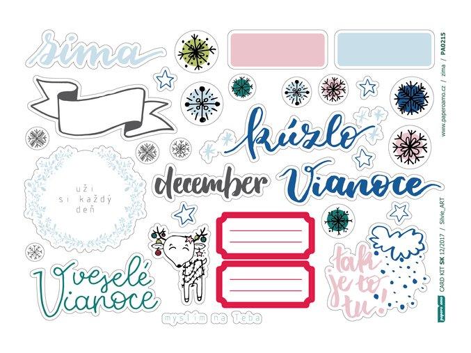 PAPERO AMO - papírové výseky - CARD KIT December 2017 / ZIMA