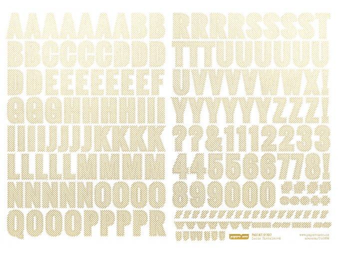 PAPERO AMO - samolepící abeceda - VÁNOCE / Zlatý proužek