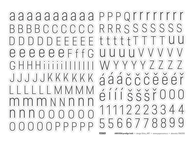 PAPERO AMO - samolepící abeceda - Predige ŠEDÁ