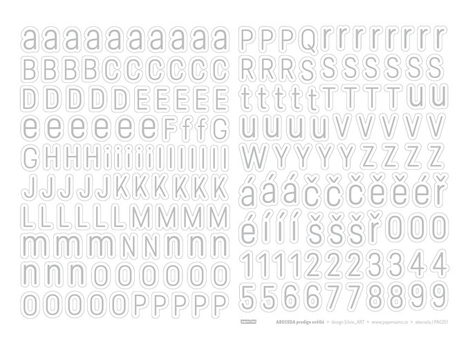 PAPERO AMO - samolepící abeceda - Predige SVĚTLÁ