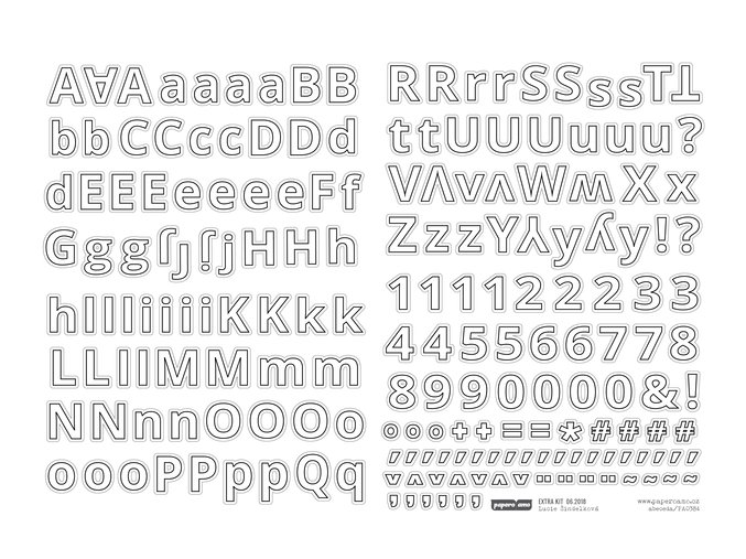 Samolepící abeceda VELKÁ - NA CESTĚ / Bílá Outline