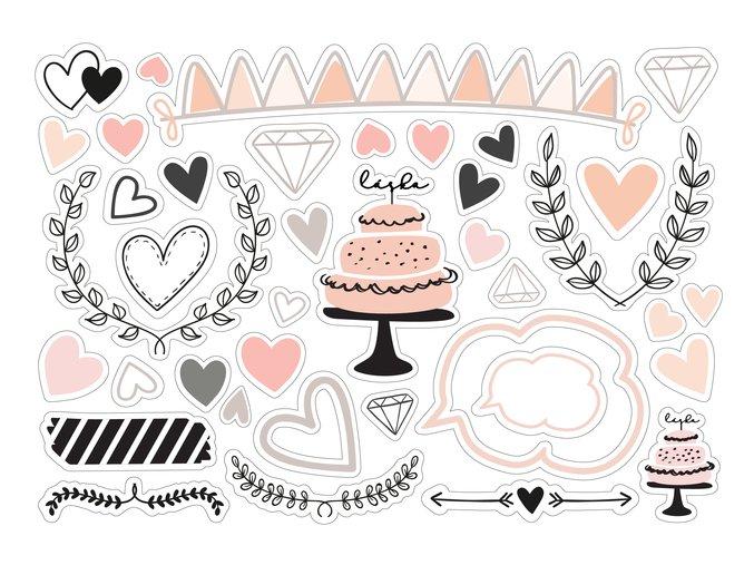 Papírové výseky - SVATBA / dort
