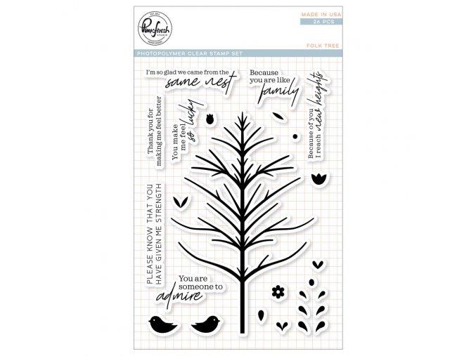 """PINKFRESH STUDIO - Clear Stamp Set 4""""X6"""" - FOLK TREE"""