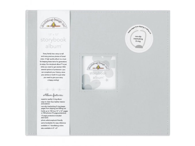 "*** DOODLEBUG - Storybook Album 12""X12"" - GRAY"