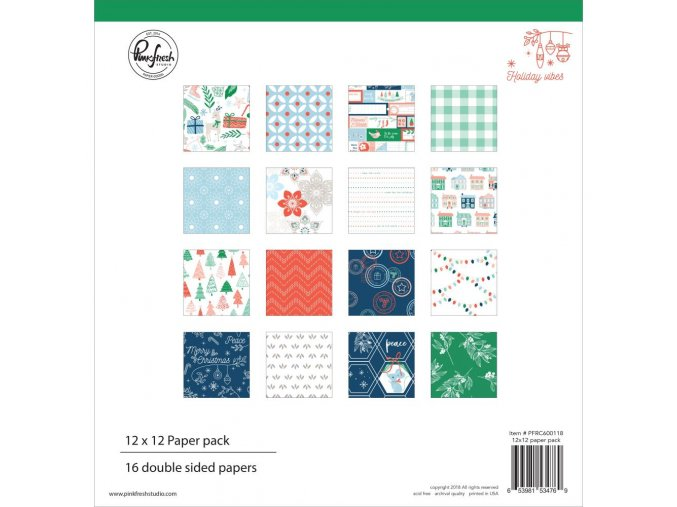 """PINKFRESH STUDIO - Double-Sided Paper Pack 12""""X12"""" - HOLIDAY VIBES"""