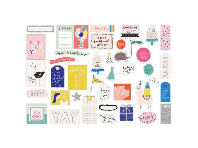 CRATE PAPER - Ephemera Cardstock Die-Cuts - HOORAY W/Glitter Accents