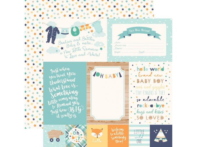 ECHO PARK PAPER - Hello Baby Boy - 4X6 JOURNALING CARDS