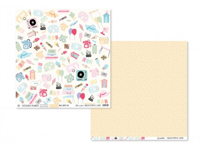 STUDIO FORTY - SCRAPBOOKOVÝ PAPÍR Beautiful Life - HAVE FUN / SPRINKLES