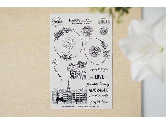 Průhledné samolepky - SO ROMANTIC / Happy place