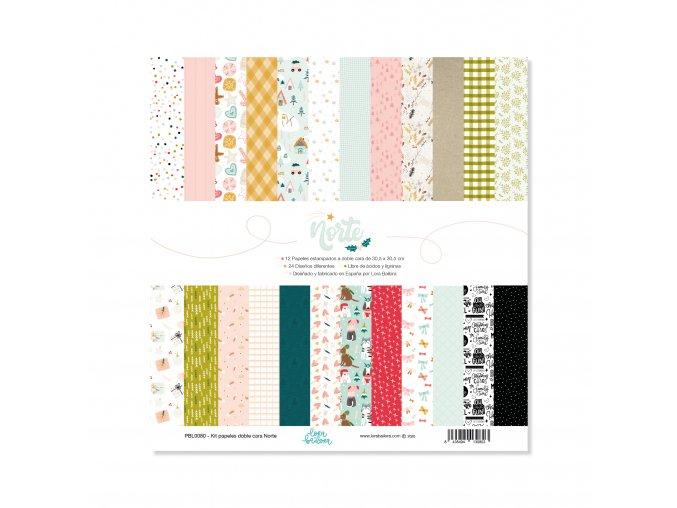 PBL0080 Kit de 12 papeles estampados a doble cara 30,5x30,5 cm NORTE