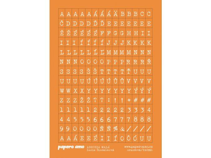 ABECEDA MALA samolepky papir oranžová 01