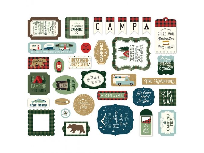 Papírové výseky - LET´S GO CAMPING / Icons