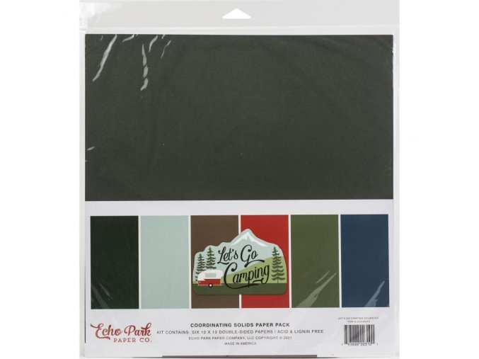 "Sada barevných papírů 12""x12"" - LET´S GO CAMPING"