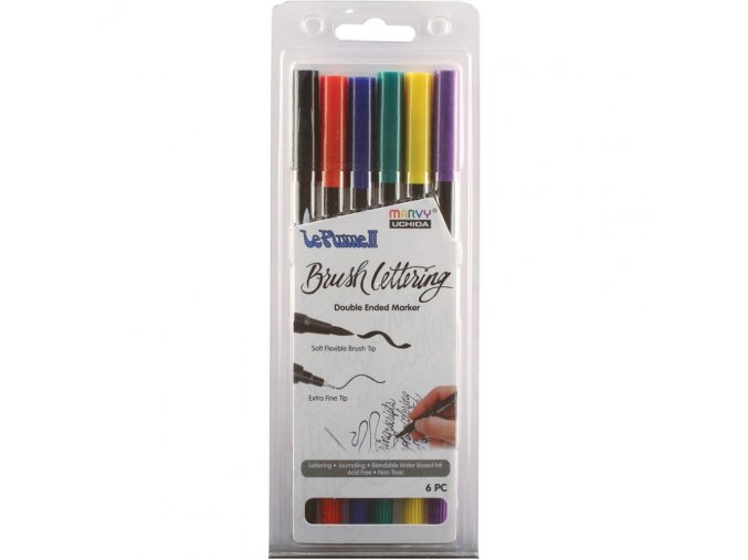 MARVY UCHIDA - Le Plume II Double-Ended Brush Lettering Marker Set - PRIMARY