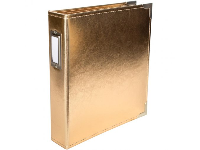 "AMERICAN CRAFTS - Project Life Faux Leather D-RING album 6""X8"" - GOLD"