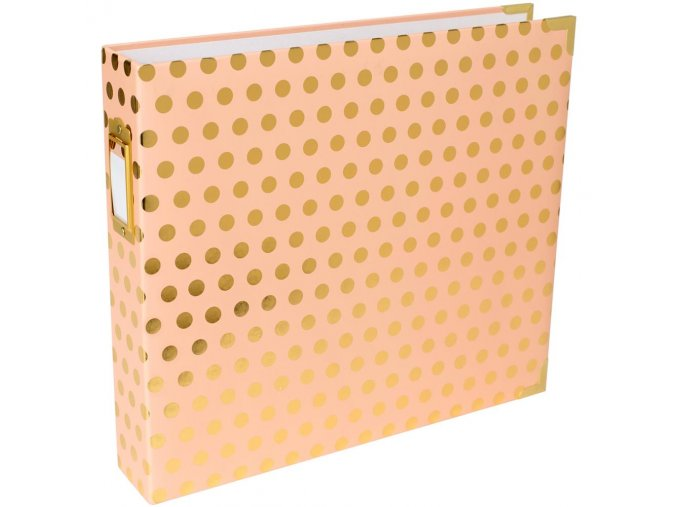 "BECKY HIGGINS - Project Life D-Ring Album 12""X12"" - BLUSH W/Gold Dots"