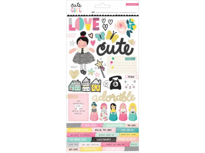 CRATE PAPER - Foiled Stickers - CUTE GIRL W/Gold Foil