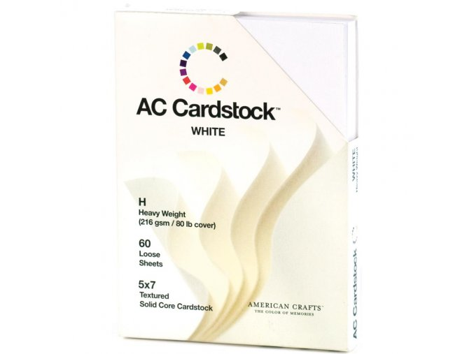 "AMERICAN CRAFTS - Textured Cardstock 5""X7"" - SOLID WHITE"