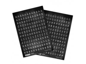 PAPERO AMO - samolepky - ČERNOBÍLÁ / abeceda