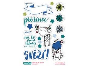 PAPERO AMO - samolepky - CARD KIT prosinec 2017 / Prosinec