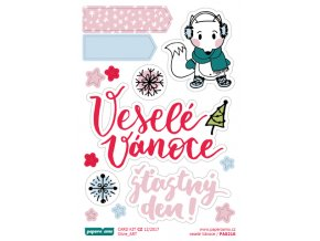 PAPERO AMO - samolepky - CARD KIT prosinec 2017 / Veselé Vánoce