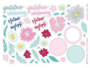 Papírové výseky - K NAROZENINÁM / Květinová gratulace