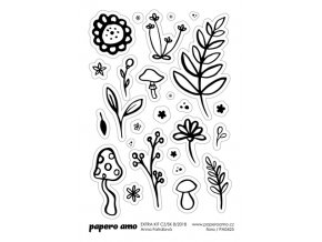 PAPERO AMO - samolepky - EXTRA KIT Srpen 2018 / FLORA 2
