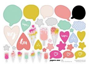 PAPERO AMO - papírové výseky - LÉTO / Zmrzliny