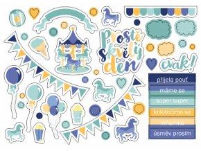 PAPERO AMO - papírové výseky - PŘIJELA POUŤ / modré