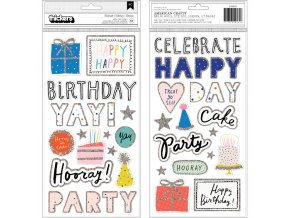 CRATE PAPER - Thickers Stickers - HOORAY / Words & Icons/Foam W/Glitter Accents