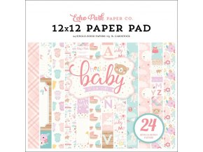 "ECHO PARK - Single-Sided Paper Pad 12""X12""  - HELLO BABY GIRL"