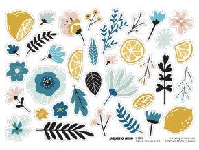 Papírové výseky Papero amo U VODY Kytky a citrony