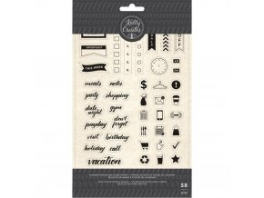 Sada polymerových razítek - KELLY CREATES / Planner Words and Icons