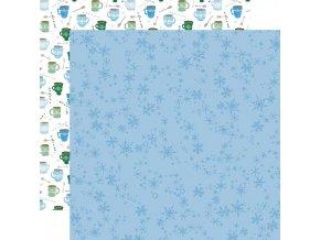 Scrapbookový papír - WINTER MARKET / Swirly Snowflakes