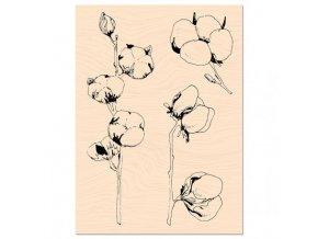 tampon bois woodland fleurs de coton les ateliers de karine